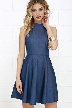 Tie Breaker Blue Chambray Lace-Up Dress at Lulus.com!
