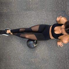 6e7e4a5015 2018 Sexy Mesh Patchwork Sports Leggings Women Fitness Clothing Black Gym  Sportswear Running High Waist Yoga. Amal Hantash Fitness