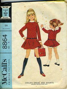 #Vintage #Helen #Lee McCalls 8864 #Sewing #Pattern Girls Drop Waist #Dress