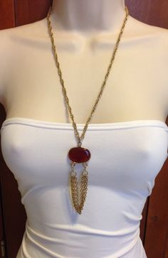 Garnet Red and Gold Necklace by Sara Coventry by Oldtonewjewels