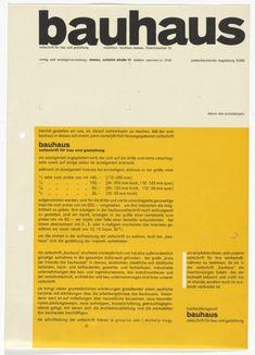 Herbert Bayer. Bauhaus Magazine (Advertising price list). 1927 Herbert Bayer, Bauhaus, Moma, Web Design Quotes, Edible Wedding Favors, Modern Books, Creative Web Design, Website Design Services, Typography Letters