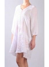 LINEN TUNIC WITH EYELET EMBROIDERY