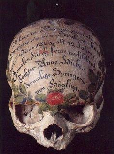Painted skull, Bavaria, Germany