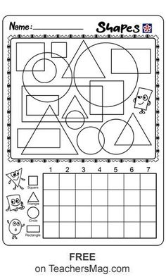 Shape Graphing Worksheet This tricky worksheet has a number of the shapes overlapping each other. Worksheets For Class 1, First Grade Math Worksheets, Graphing Worksheets, Shapes Worksheets, Free Printable Worksheets, Kindergarten Worksheets, Reading Worksheets, Free Printables, Verb Activities For First Grade