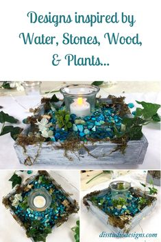 Water, stones, wood, and plants are the inspiration for this Waterfall Mini Decorative Candleholder! Click the link to purchase. Visit disstudiodesigns.com to purchase. #handcrafted #eventdecor #springdecor #homeaccents #tablecenterpiece #upcycled #candleholder #fauxfloral #natureinspired #shopsmall #supporthandmade Summer Table Decorations, Table Centerpieces, Waterfall House, Candle Holder Decor, Candles And Candleholders, Faux Plants, Event Decor, Decorative Items, Shopping Mall