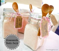 Homemade Bath Salt - via EverythingEtsy.com  My super industrious and creative daughters are already planning a list of friends (and teachers) that they can make this for! time to stock up on Epson Salt !