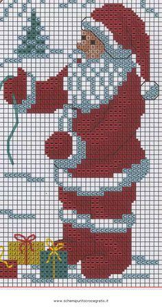 free cross stitch pattern to print Xmas Cross Stitch, Cross Stitch Alphabet, Counted Cross Stitch Patterns, Cross Stitch Charts, Cross Stitch Designs, Cross Stitching, Chicken Scratch Embroidery, Crochet Santa, Christmas Knitting Patterns