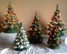 lot of 5 vintage ceramic christmas trees atlantic nowell lights bulbs - Ceramic Light Up Christmas Tree