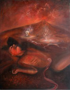 """Volcanic Rebirth,"" Oil on Canvas, 42x54 in. Sarah Szabo (2012)"