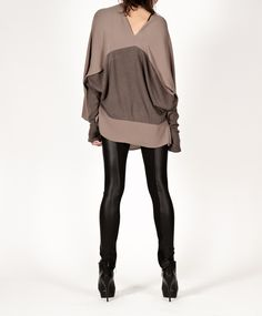 Georgette front drape top with jersey back