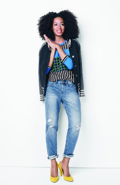 Solange for Madewell. With booties instead of pumps for winter. (Ideas for recreating this look: http://www.franticbutfabulous.com/working-mom-outfit-idea-graphic-knits-boyfriend-jeans-bright-heels/?utm_medium=social_media_campaign=Traffic)