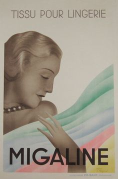 Migaline lingerie tissue 1935 by Mazenod original vintage advertising lithographic poster from France