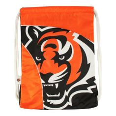 "NFL Cincinnati Bengals Curve Cinch by Littlearth. $11.11. Measures: 13"" x 1"" x 18""; 100% Polyester; Decoration: Screen Print; Wipe Clean with Damp Cloth.  Durable polyester fabric with contrasting ""SporTech"" fabric in two-tone team color; large, blown out screenprinted team logo; woven locker tag with team logo; thick, 5/8"" Fat Cord for comfortable use; hanging pocket in interior; ""Property Of"" nametag on back"