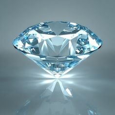Diamond jewel isolated on light blue background. Beautiful sparkling diamond on a light reflective surface. High quality 3-d render with HDRI lighting and ray traced textures. Stock Photo