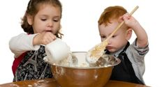 Kids measuring and mixing in kitchen. Two kids measuring and mixing into large m , Things To Do When Bored, South African Recipes, Kids Up, Parenting Articles, Free Preschool, Super Mom, Breakfast Time, Eating Well, Serving Bowls