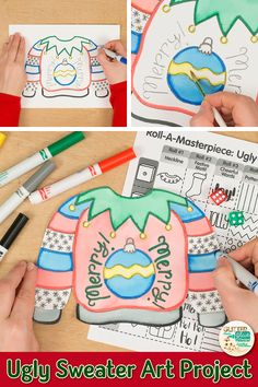 Searching for unique Ugly Sweater Day crafts your students will love? Try a roll-a-dice art game! Fill up your art sub plans folder with no-prep art projects. Second grade and up. Arts And Crafts Movement, Arts And Crafts Storage, Arts And Crafts For Adults, Christmas Arts And Crafts, 2nd Grade Christmas Crafts, Christmas Activities, Craft Activities, Unique Art Projects, Arts And Crafts Projects