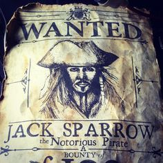 """New Jack Sparrow Wanted poster for Pirates of the Caribbean: Dead Men Tell No Tales Pirate Birthday, Pirate Party, Walt Disney Pictures, Caribbean Party, Vikings, Pirate Decor, Pirate Halloween, Halloween 2019, Captain Jack"