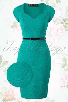 Elizabeth Sweetheart Wiggle Dress in Jade Green : Lindy Bop Elizabeth Jade Green Dress 100 40 15931 20150610 Trendy Dresses, Sexy Dresses, Blue Dresses, Beautiful Dresses, Dress Outfits, Fashion Dresses, Short Sleeve Dresses, Dresses With Sleeves, Formal Dresses