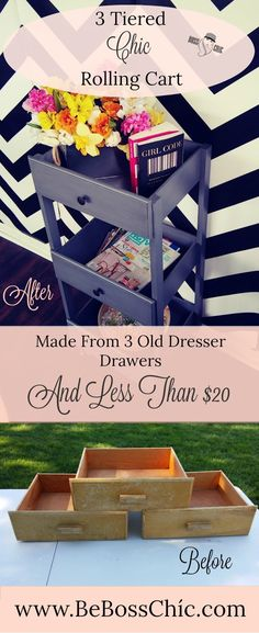 DIY 3 Tiered Chíc Rolling Cart/Side Table-Made From Dresser Drawers Be Boss Chíc Repurposed Furniture Boss CartSide Chic DIY Drawers dresser Rolling TableMade Tiered Old Dresser Drawers, Diy Drawers, Broken Dresser, Dresser Drawer Crafts, Dresser Drawer Organization, Drawer Ideas, Drawer Shelves, Storage Ideas, Refurbished Furniture