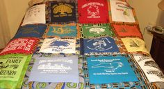 Family Reunion Quilt - made from the reunion TEE SHIRTS!   My quilt for my family, the  Carroll-Sneed-Southerland-Jones Family Reunion Quilt.  (We have a family reunion every year!  I turned my tee shirts into a quilt.  Simple: each shirt (front and back) makes one square - trim each square in fabric (i use African fabric, since we are a Black family).  I get one row every four years!  We hang the quilt at events and my bed is warmed the rest of the year!  Quilt made, by Evalyn Hamlton