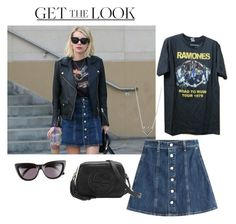"""""""Get the look: Emma Roberts"""" by nossredna ❤ liked on Polyvore featuring Sunday Somewhere, AG Adriano Goldschmied, Gucci and Jennifer Meyer Jewelry"""