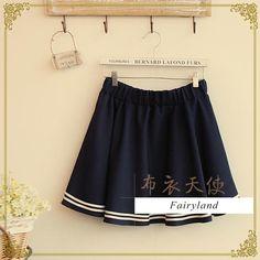 Striped Trim Elasticized Skirt, Dark Blue , One Size - Fairyland   YESSTYLE