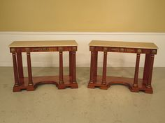 22831E: Pair French Empire Marble Top Peticote by StenellaAntiques