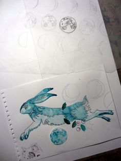 onebeecraft Sketches for pattern with hares, moons and blueberries for textile or wallpaper or whatever comes to mind. Made by hand on paper with inks and then digitized.