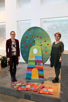 """""""The tree of Christening"""" in Hämeenkylä Church Vantaa 2015. Design Annukka Mikkola (right), weaving Tea Rahkamaa (left). There are seats for the kids on the floor."""