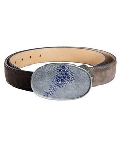 Leather Cuff Bracelet with Blue Sapphires