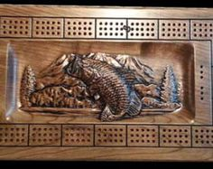 Bass Lake Fishing cribbage board for the lake cabin fisherman mountain lake fly fishing Cribbage Board, Bass Lake, Kabine, Cnc Projects, Lake Cabins, Flyer, Fly Fishing, Lighthouse, Decorative Boxes