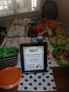 Rock-A-Bye Baby Shower: Food Table (Menu, Matching Bowls & Chevron basket)