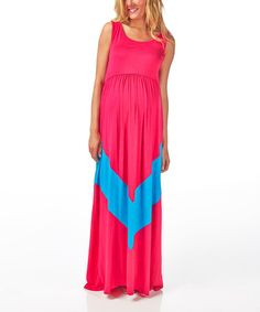 This Fuchsia & Teal Chevron Maternity Maxi Dress by PinkBlush Maternity is perfect! #zulilyfinds
