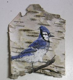 Bluejay Hand Painted on Birch Bark in an Oak Frame