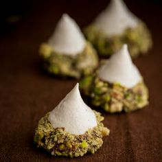 Meringue Acorns with Salted Pistachios and Chocolate recipe