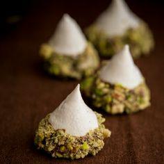Meringue Acorns with Salted Pistachios and Chocolate recipe