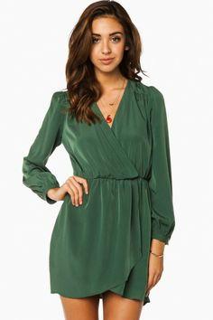 Cecelia Wrap Dress in Olive