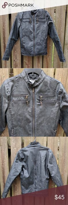 Distressed Faux Leather American Rag Jacket Worn only once or twice. Shell is 100% polyurethane. Shell back, filling, and lining is 100% polyester.  In perfect condition aside from some of the filling coming out of the lining. See 4th pic. American Rag Jackets & Coats