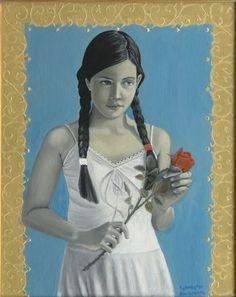 """,,Naiwny Patriotyzm"""" 2008r. olej-akryl na płótnie,50x40cm. Kolekcja prywatna. Obraz nagrodzony w konkursie..."""