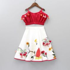 Best 12 Pre Order: Cockatoo Red Choli With White Lehenga Baby Girl Frocks, Baby Girl Party Dresses, Birthday Girl Dress, Frocks For Girls, Dresses Kids Girl, Kids Dress Wear, Kids Gown, Kids Wear, Kids Indian Wear
