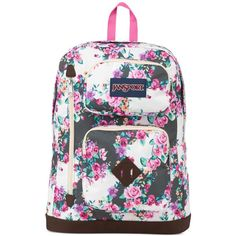Jansport Austin Backpack, Multi Grey Floral Flourish (150 BRL) ❤ liked on Polyvore featuring bags, backpacks, multi grey floral flourish, floral print backpack, jansport, grey rucksack, pocket backpack and floral backpack