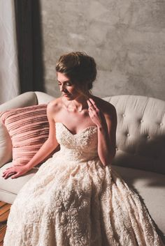 Strapless A-line wedding dress with rosette texture | Brittani Elizabeth Photography