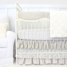 This 2 pc. set features a sweet taupe dot crib sheet and a gorgeous linen, vintage lace, and taupe dot triple ruffle crib skirt in neutral tones. This crib bedding set will bring a look of elegance to any baby girl's nursery.
