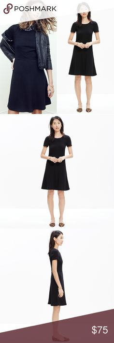 "MADEWELL Black Gallerist Dress Meet the dress you'll want to wear everywhere—with its swingy skirt, just-right short sleeves and stretchy, substantial knit fabric, this one is a forever favorite.    Waisted. Falls 36 1/4"" from shoulder. Viscose/poly. Machine wash. Import. Madewell Dresses"