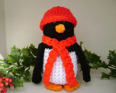 Crochet Penguin  Christmas Decoration  Shelf by PrissysPlace, $14.00