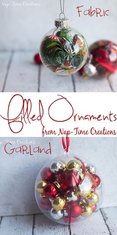 FILLED ORNAMENTS  Christmas / Winter Ideas  ⇨ Follow City Girl at link https://www.pinterest.com/citygirlpideas/ for great pins and recipes!  ☕