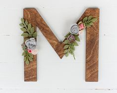 Wood Letter with Felt Succulents