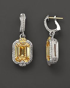 Judith Ripka Sterling Silver and 18K Gold Estate Double Drop Earrings With Canary Crystal And White Sapphires |