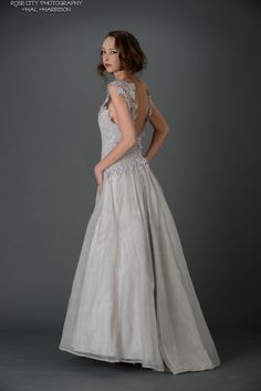 """Diana"" gown with V back silhouette."