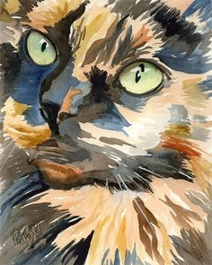 Calico Cat Art Print - Original Watercolor by dogartstudio